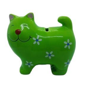 💗Green Happy Kitty Coin Bank with Flowers